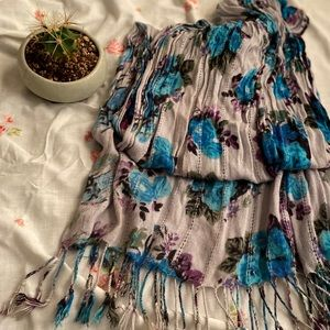Scarf with Blue Roses